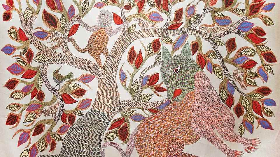 warli, madhubani, miniature, phad, gond painting in pimple saudagar - Gond C10 01 01 - Warli, Madhubani, Miniature, Phad, Gond Painting
